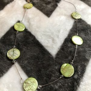 Silver Necklace with Green round beads